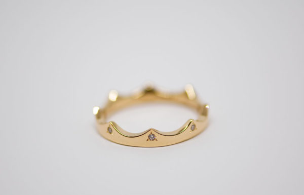 Bague Crown or diamants