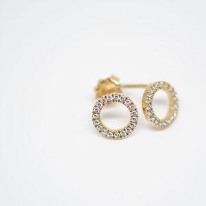 Boucles d'oreilles doré ronde serties de topaz